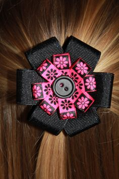 Hair Bow---Black Pink Flowered with Black Button---Hair Clip