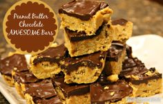 Peanut Butter Chocolate Bars #peantubutterandchocolate #valentinesday #cerealbars