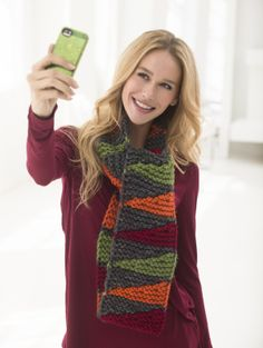 Get into the season spirit with the Autumn #Scarfie knit with Wool-Ease Thick & Quick.