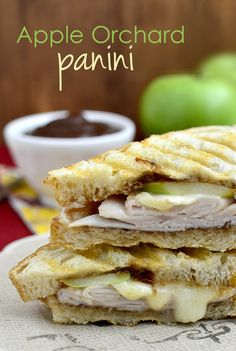 Apple Orchard Panini Recipe ~ roasted turkey, Granny Smith apple slices, brie cheese, and apple butter layered between Italian bread then pressed until golden brown and audibly crunchy.