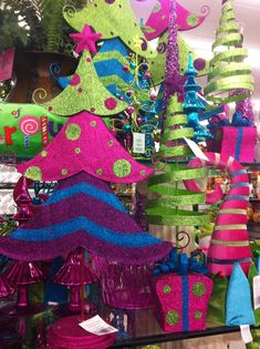 Fun, bright and colorful Christmas decorations at Hobby Lobby- LOVE!
