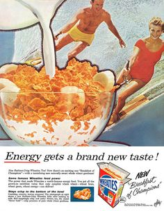 Enough energy to ski right around that giant cereal bowl! (Funny bad vintage ad)