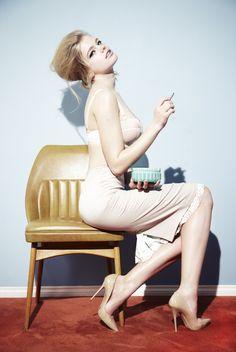 """Lingerie Season"": Valerie Van Der Graaf by Damien Fry for Vaga Magazine March 2012"
