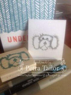 """Stampin Up! Undefined stamp carving kit. The first image in my new """"Penny the labradoodle"""" stamp set."""