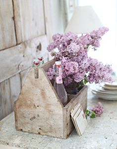 dreamy whites, vintage tools, color, shabby chic, purple flowers, milk crates, old wood, box, wooden crates