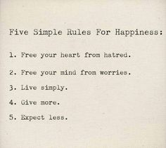 happy Five Simple Rules.....