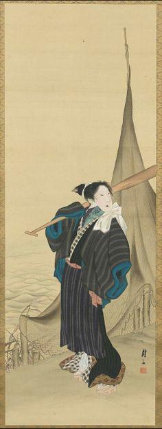 The Female Captain of the Boat      Onnasendou | Tattoo Ideas & Inspiration - Japanese Art | Ryoshi-no tsuma, Edo period, about Bunsei era (1818–30). Numata Gessai (Utamasa), 1787–1864