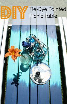 tie dye painted picnic table DIY in blues