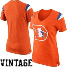 Nike Denver Broncos Women's Retro Fan V-Neck T-Shirt - Orange