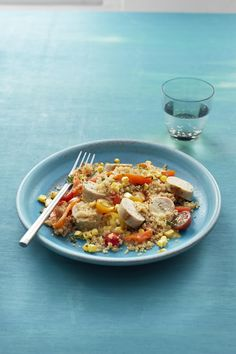 Quinoa with Summer Vegetables and Sausage #myplate #summer #veggies #pork