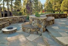 entertaining patios | Flagstone Patios and Outdoor Entertainment | Yelp Seating on both sides of wall cool idea fire pits, flagston patio, landscap idea, patio stone, stone patios, firepit, outdoor entertainment, outdoor idea, patio ideas