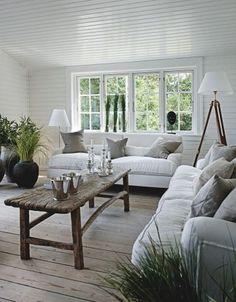 White, beachy living room