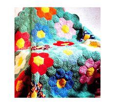 Vintage 1970s Mod Crocheted Afghan Pattern Flower Garden Quilt PDF Treasury Item.via Etsy.