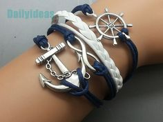 Anchor & Infinity Wish and Rudder bracelet Navy wax cord White Leather  Antique Sliver Cute Charm Bracelet Personalized Jewelry Wholesale