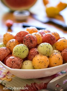 Melon Balls with Poppy Seed Dressing - A light and delicious dressing that is perfect served over fresh melon.