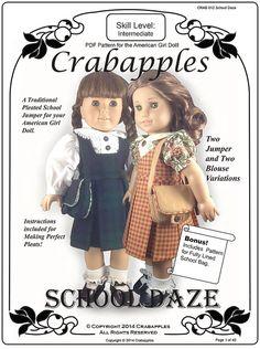 American Girl PDF Pattern School Daze Jumper by CrabapplesBoutique, $10.00