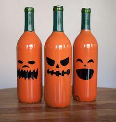Jack-o-lantern wine bottles! Repurpose those empties.