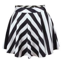 stripes print pleated mini skater skirt