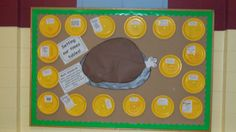 "Thanksgiving math bulletin board. ""Setting Our Times Tables."" Students solve multiplication word problems on paper plates."