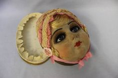 Rare boudoir doll head candy box