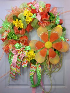 Spring/ Summer Mesh Wreath on Etsy, $85.00