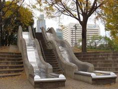 Slides should be built next to all staircases.