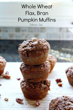 Whole Wheat Flax Bran Pumpkin Muffins ~ Healthy, good for you, pumpkin muffins, made with whole wheat flour, flax, and oat bran! They're loaded with lots of flavor and are so moist! These Pumpkin Muffins would be a perfect healthy breakfast or snack!