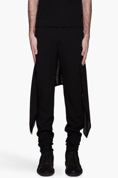 GARETH PUGH Black silk Skirt trousers