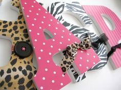 Custom decorated letters #baby #room #leopard #pink #decor #pinparty