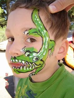 face paintings, theme parties, face painting alligator, crocodil, facepaint