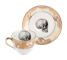 Upcycled Skull Design Bone China Vintage Gold Teacup and Saucer