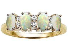 Tommaso Design(tm) Genuine 4 Stone Opal and Diamond Ring LIFETIME WARRANTY