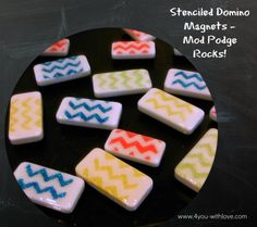 Stenciled Domino Magnets + A Giveaway #ModPodgeRocks #ModPodgeStencils #Upcycle