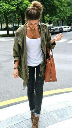messy bun, brown ombre hair, green coat, white tank top, brown bag, cuffed denim jeans, tan ankle boots, outfit
