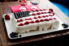 4th of July Vegan Flag Cake with Coconut Whip & Berries.