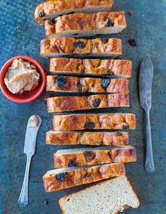 No-Knead Cinnamon Raisin English Muffin Bread with Cinnamon Sugar Butter - No need to buy English muffins anymore after trying this super easy recipe!  Recipe at averiecooks.com