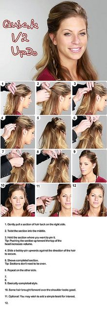 How to do a 1/2 updo step by step hairstyle tutorial