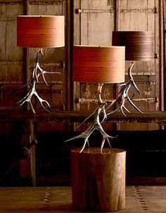 decor, idea, dream cabin, table lamps, antlers, rustic chic, hous, light, antler lamp