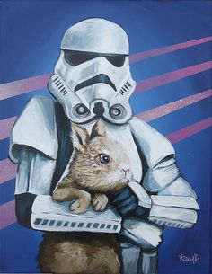 Storm Trooper with Small whit Bunny Rabbit 9x12 by tramplamps, $165.00