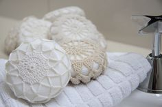 No Crochet Doily Covered Soaps