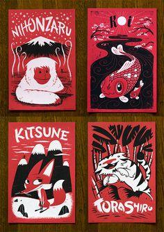 japanese art, animals, friends, animal illustrations, beatiful paint, art prints, printmaking poster, animal prints, foxes