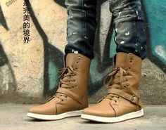 Fashion New Men's Winter High-top Army Combat Boots Lace Riveted Boots Shoes