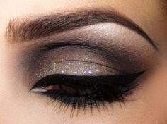 smokey grey glitter eyeshadow #eyes #eye #makeup #eyeshadow #dark #dramatic