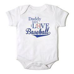 Daddy says I Love Baseball Funny  Baby Girl or Boy Onesie Bodysuit on Etsy, $12.00