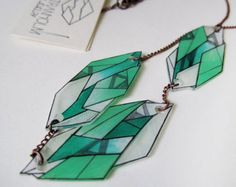 MINT GREEN GEOMETRIC necklace // unique hand drawn shrink plastic necklace , jewelry, jewellery, metal chain, nickel free, handpainted