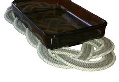 Table Runner Rope Trivet Made in Alaska Gray by AlaskaRugCompany,
