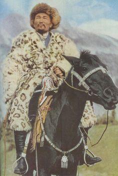 Kazakh chief in snow leopard fur