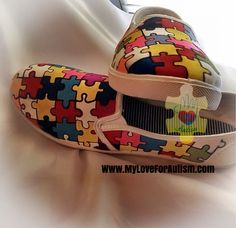 Autism Awareness Puzzle Piece  Shoes are now available exclusively only at www.MyLoveForAutism.com for a limited time only!! Order yours today and help raise awareness for autism. ORDER YOURS TODAY WWW.MYLOVEFORAUTISM.COM