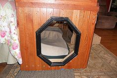 Left over tongue & grove flooring made into dog beds, repurposing upcycling, woodworking projects, Entry on the right allows pups to enter exit or just run through