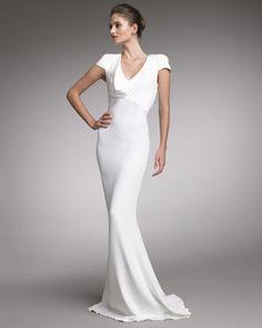 Alexander McQueen Fitted Cap-Sleeve Gown, Natural - Neiman Marcus